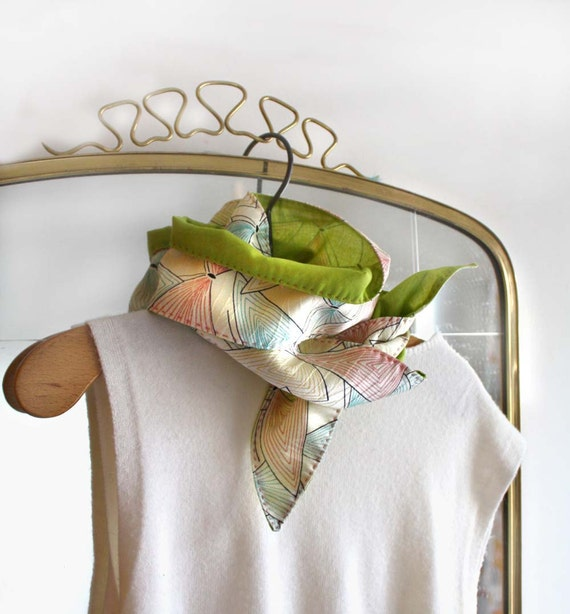 Silk Scarf. Vintage Silk and Organic Cotton. Skinny Scarf. Reversible. Hand Embroidered. Écharpe de soie et coton bio organique. SHIPS FREE