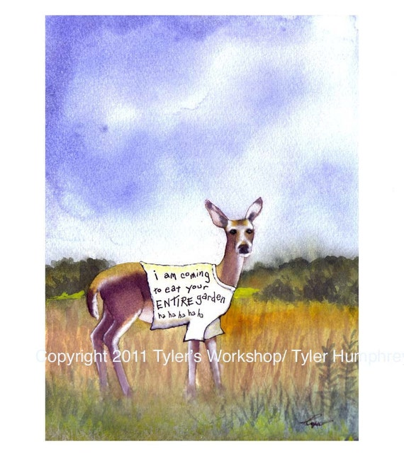 funny deer pictures. funny deer pictures. Deer Art, Funny Deer Wearing T-Shirt In Garden/