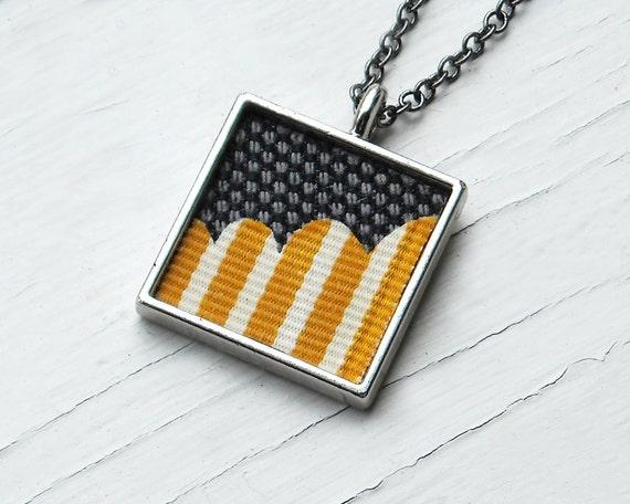Ткань ожерелье, горчично-желтый, White Stripes и Черный Серый Ткань