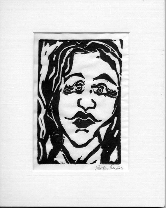 Block print,  Abstract Expressionist Art  for Sale with FREE white mat