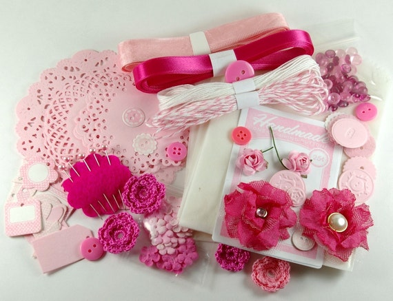 Pink Craft Embellishment Kit