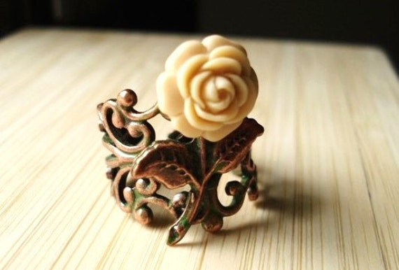 Rose Ring -- Ivory Flower on Patina Copper Filigree -- Secret Garden
