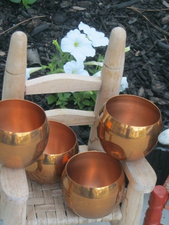 Set of 4 Coppercraft Guild 9oz Cups - Made in Taunton Mass USA