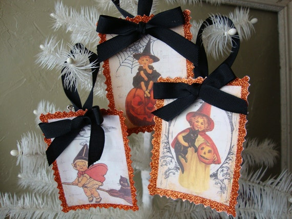 Vintage style glittered Halloween ornaments tags Little girl witches orange and black