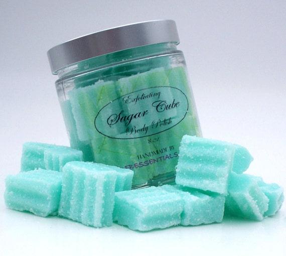 Exfoliating Solid Sugar Cube Body Polish 8 oz Jar  Green Tea, Aloe and Lemon (Spa Tonic Scent)