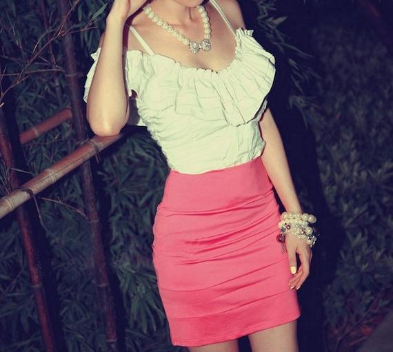 Jukugal white ruffled off shoulder bodycon mini dress pink skirt xs s m