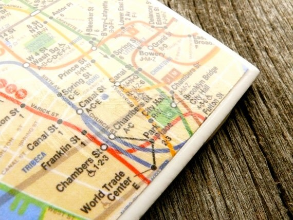 New York City Subway Map Coasters. Set of 4.