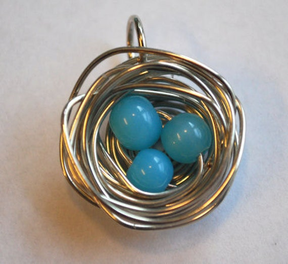 Bird's Nest Pendant with 3 Blue Eggs