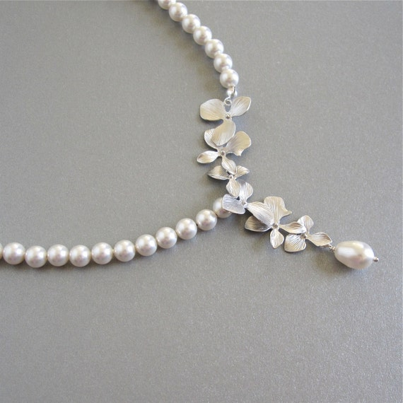 Cascading orchid pearl bridal necklace