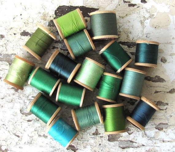 Green Spools of Thread Photo Card - Photo By Mary Beth Hale To Benefit Heart Strings