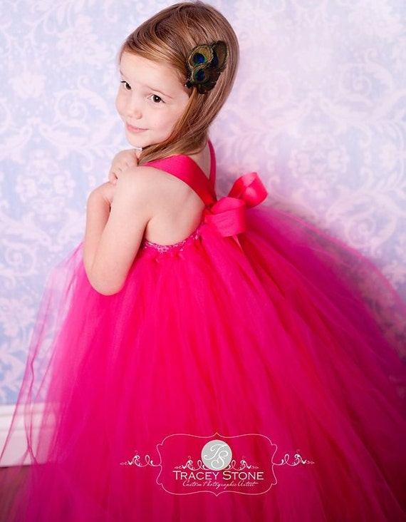 Flower Girl Tutu Dress in Pink - Raspberry - 20% OFF with coupon Christmas2011