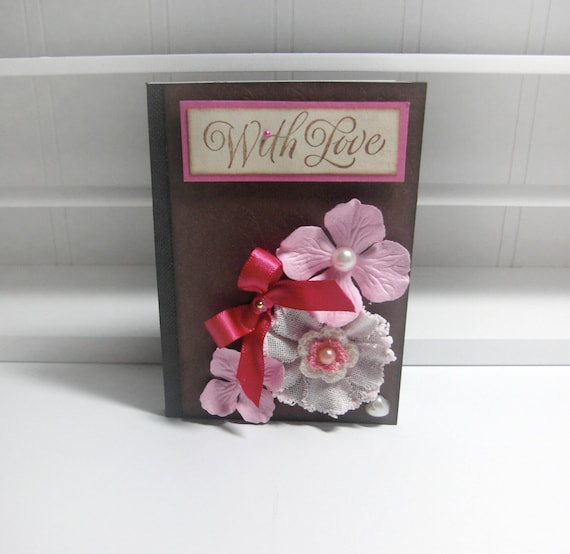 With Love  Pink Floral Embossed Altered  Mini book by LittlePinkKangaroo