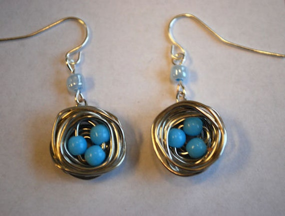Miniature Bird's Nest Earrings with Blue Eggs