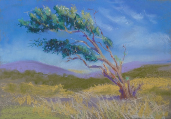 Windswept Tree - Original Pastel Painting - FREE SHIPPING