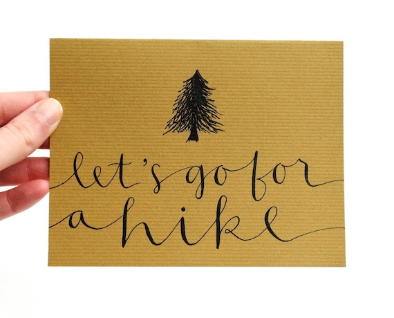 Greeting Card for Autumn . Let's Go For a Hike . Handwritten Calligraphy . Olive