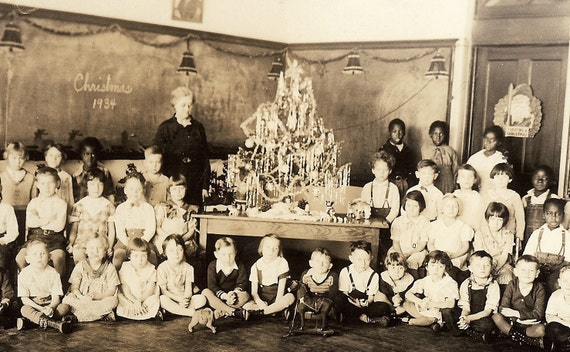 Antique Class Photo - Elementary School, Christmas 1934