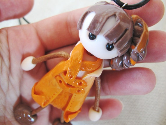 Bambolica - handmade polymer clay doll necklace