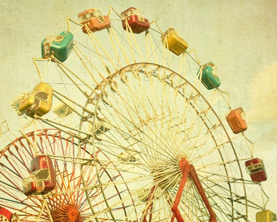 33% OFF SALE A Great Day Out -  fair summer, golden yellow sky, ferris wheel, carnival rides  afternoon sun -  8x10 Fine Art Carnival Photo