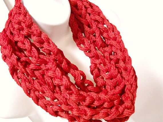 Crocheted Extra Long Fire Engine Red Scarf