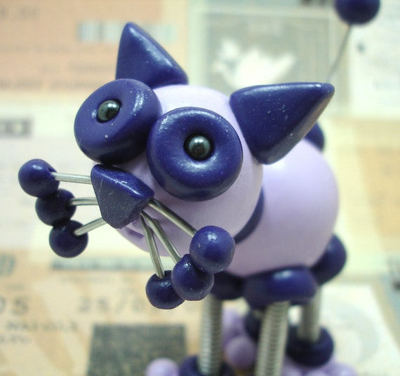 Robot Sculpture Purple Poppy Mini Cat  - Polymer Clay, Wire, Paint