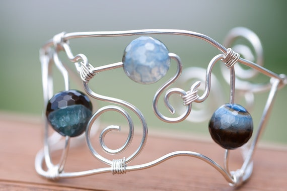 Pretty Sterling Silver Bangle Bracelet with Blue Agate, Unique, gift,summer,second item ships free