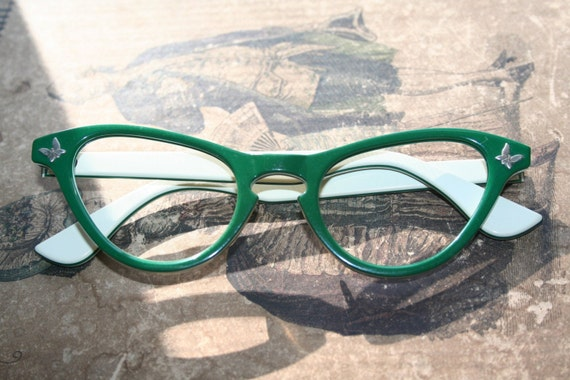 Vintage Cat Eye Glasses Frames Green with Butterflies 1950s