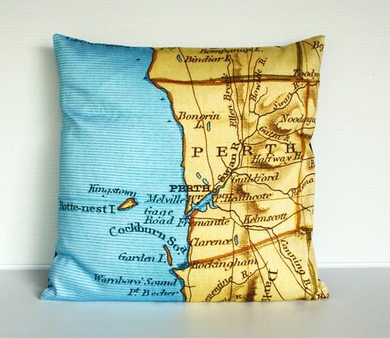 """Перт, Австралия карта подушки, органический хлопок, подушка, 16 """""""