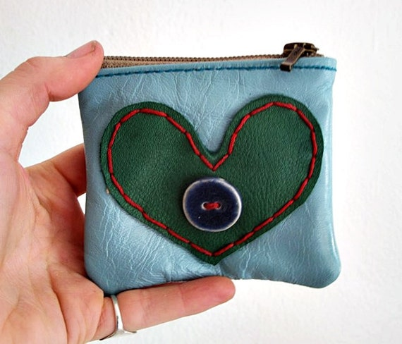 Sweet and Cheerful Medium sized Blue Coin Purse with green heart and blue pottery button  xxx FREE SHIPPING xxx