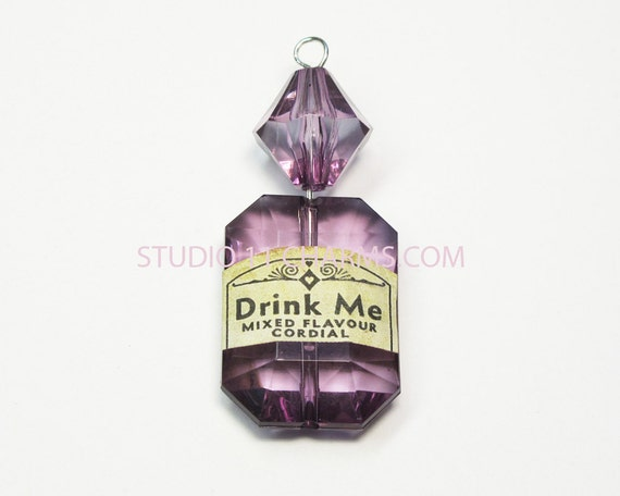 SALE- 2 pcs. Alice in Wonderland Drink Me Bottle Pendant Charm, Purple, DRINK ME