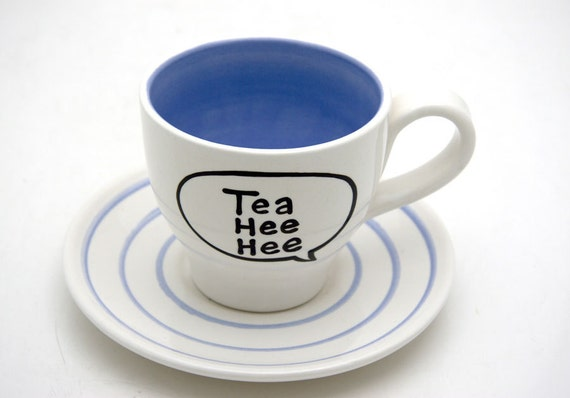 Tea Hee Hee Speech Bubble Teacup and Saucer