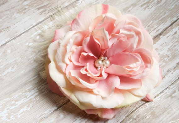 Bridal Hair Piece Clip in Pinks Corals -Pastel Colors Adorned with Ivory and Dusty Rose Pearls - Pick Wedding Colors - 1 week turn around