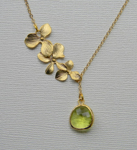 Gold Orchids and Apple Green Stone Lariat Necklace