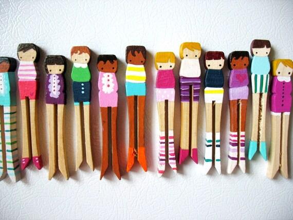 handmade wooden folk art magnets ... banana stripe girls
