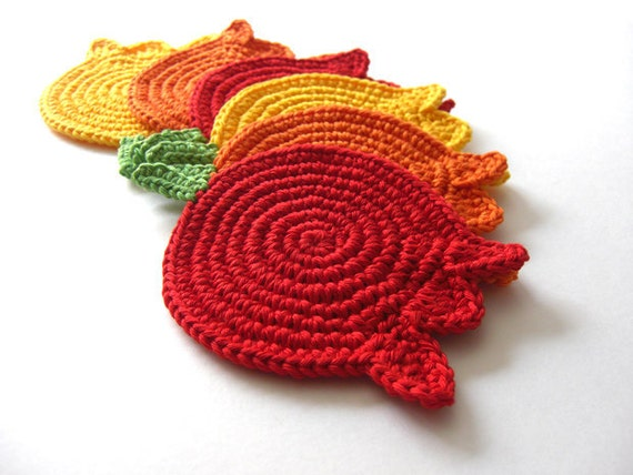 Yellow Orange Red Tulips Coasters . Beverage Drink Original Decor Crochet Spring Garden Collection - Set of 6