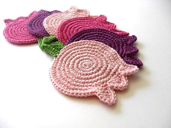 Pink Purple Rose Tulips Coasters . Beverage Drink Original Decor Crochet Spring Garden Collection - Set of 6