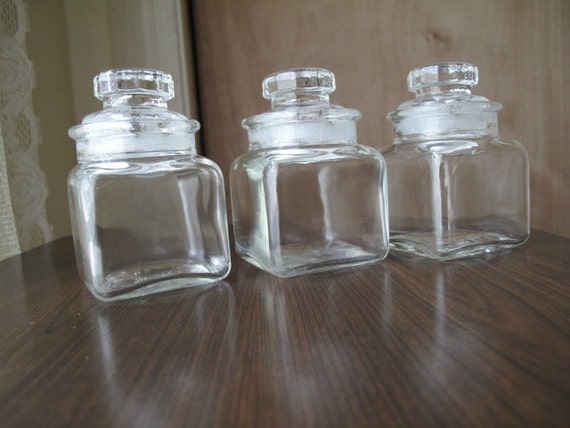 Vintage Apothecary Jars set of 3 / Ink Well / Spice Jars / Apothecary Bottles / Ink Bottle / Storage jars / Made in Japan