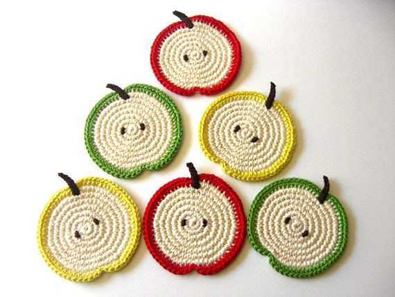 Green Red Yellow Apple Slice Coasters . Beverage Drink Leaves Healthy Vegan Decor Crochet Fruit Collection - Set of 6