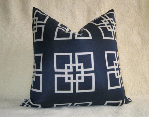 Pair of 2 / Overlapping Squares Designer Pillows / 18 inch / Navy Blue / zipper enclosure