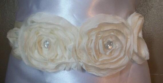 Ivory Chiffon Double Flower Bridal Sash