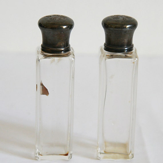 SPRING SALE Set of 2 Vintage Perfume bottle, with Silver cap
