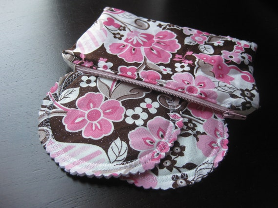 Lined Zipper Pouch with Washable Organic Breast Pads w Bamboo and PUL