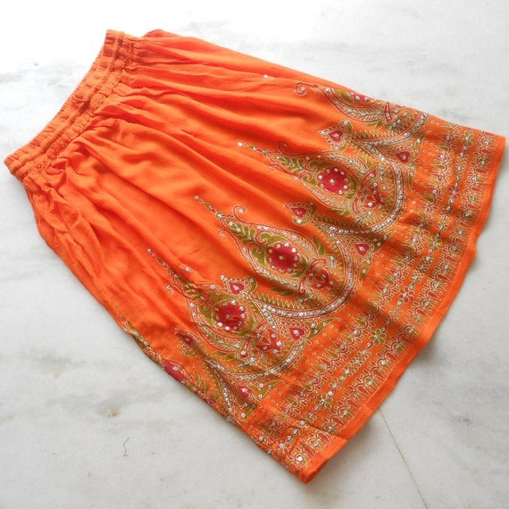 Boho Indian Bright Citrus Orange Crinkled Crepe Skirt Sarong Swimsuit Beach Cover Up
