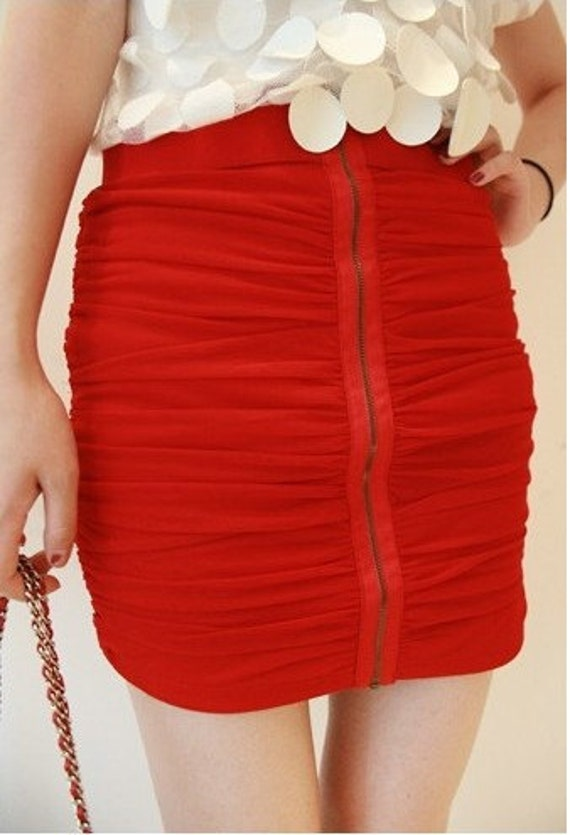 Jukugal hi waisted red mini skirt shiny Stretchy bodycon bold color S M
