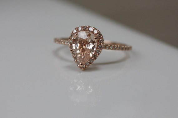 Peach champagne tear drop sapphire and rose gold diamond ring-1st payment - on hold
