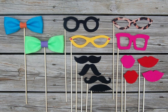 Photobooth Mustache on a stick and Lips and Glasses and bowties PARTY PACK