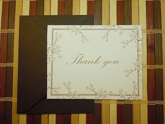 Set of 8 flat note card Thank You's with Cherry Blossoms