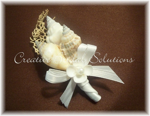 Beach Bridal Wedding SeaShell Boutonniere by CreativeBridal
