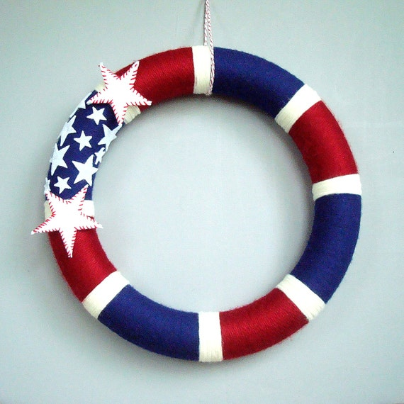 "American Wreath yarn.  14 ""Patriotic wreath. Red, white and blue stripes with white felt stars. Ideal for families of military personnel."