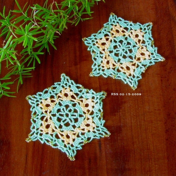 Beaded Yellow Flower Coasters, Lace, Small Yellow Flowers in Green, Trinket Doily, Fiber Art,  Home Decor or Applique