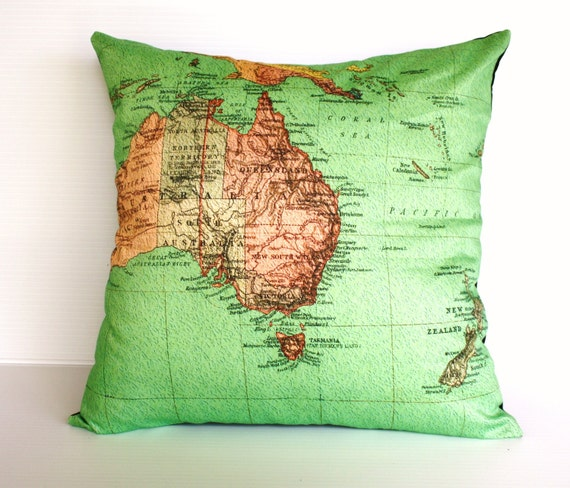 AUSTRALIA , organic cotton Vintage map of Australasia, map cushion, pillow, cushion cover, 16 inch